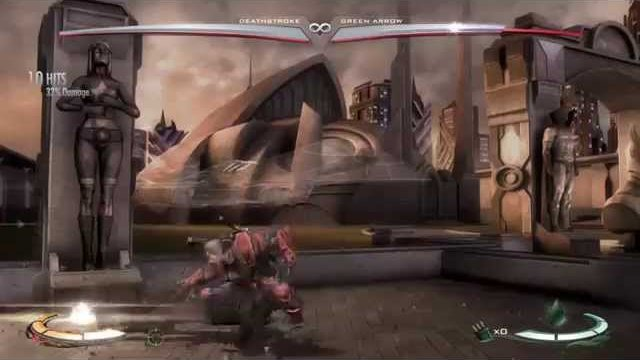 Injustice: Deathstroke combo with corner set up